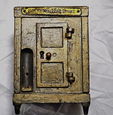 Antique J&E Stevens Cast Iron Bank Metropolitan Safe Still Bank Circa 1872,Rare