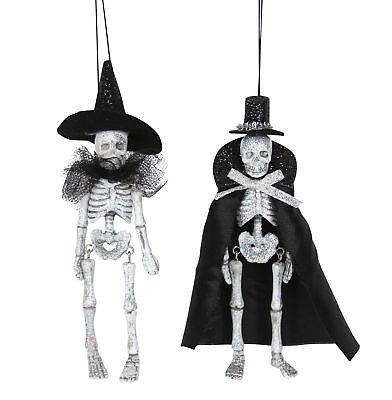 2 x Gisela Graham Halloween Hanging Silver Glitter Skeleton Decorations](Gisela Graham Halloween Decorations)