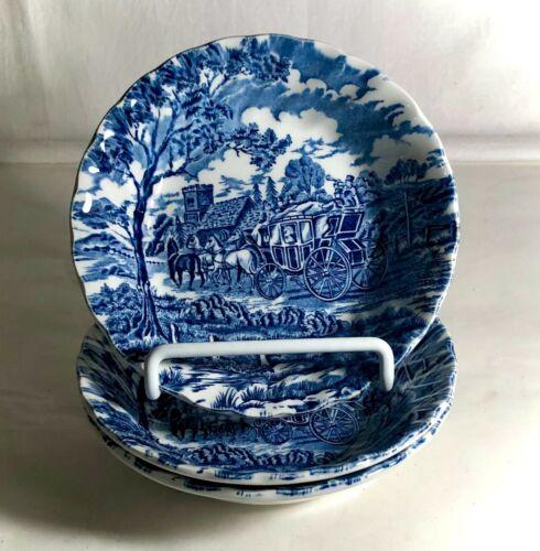 "3 Myott Blue Royal Mail 5 3/8"" Dessert Bowls"
