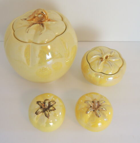 VTG Ceramic Tomato Cookie Jar Sat & Pepper Sugar Bowl Set Yellow Luster ware