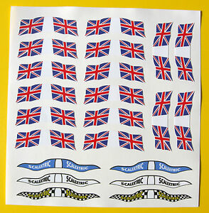 SLOT-CAR-SCALEXTRIC-SCX-1-32nd-vintage-style-UK-FLAGS-stickers-decals