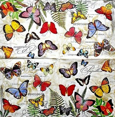TWO (2) Butterflies Cocktail Napkins for Decoupage and Paper Crafts