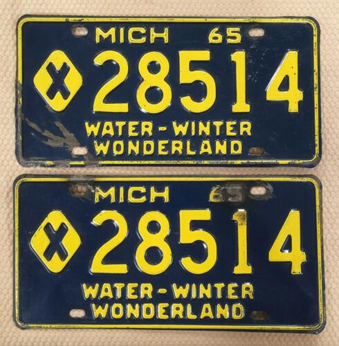 1965 Pair Michigan Municipal License Plates Tag # X 28514