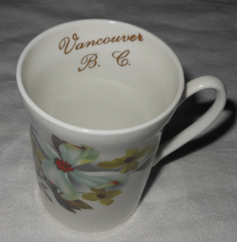 Crown Prince Mug Bone China England 1835 Vancouver B.C. Floral Dogwood Gold Trim
