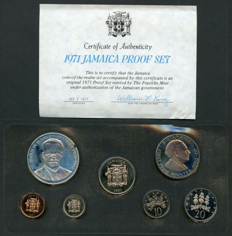 JAMAICA 1971 SEVEN  PIECE PROOF SET  BOXES  & COA INCLUDED