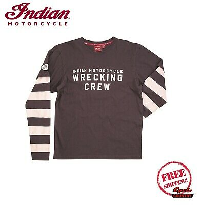 GENUINE INDIAN MOTORCYCLE BRAND WRECKING CREW LONG SLEEVE T-SHIRT TEE GRAY NEW