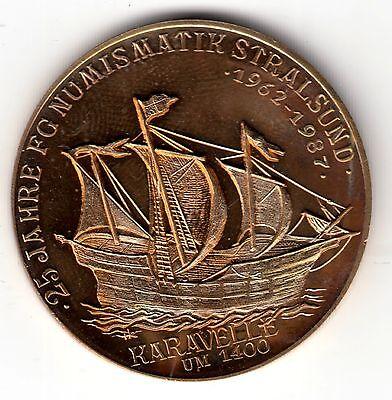 AV-VD Medaille Stralsund Schiffe Karavelle um 1400 Nicolaikirche um 1270 KT1-3