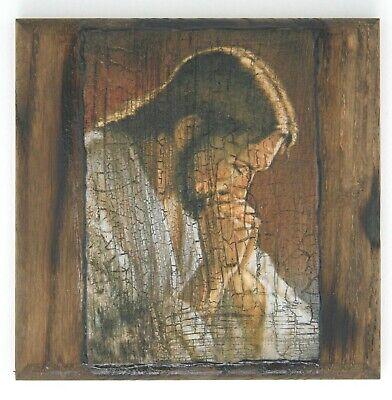 Our Jesus Praying Old Style Wall Christian Icon on Wood Base Плачущий Исус Икона
