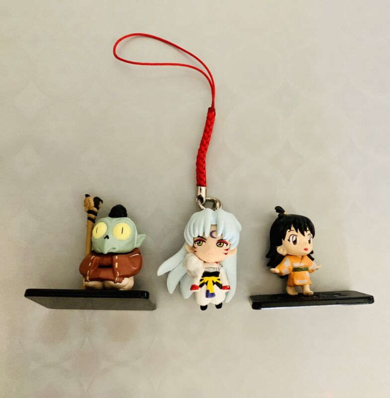 Inuyasha Figure Set Straps Sesshomaru, Rin, and Jaken Small Figures Rare