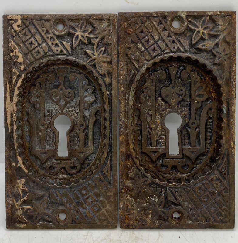 Old Door Hardware Vintage Cast Iron Ornamental Skeleton Key Hole Backing Plates