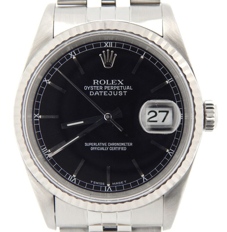 Mens Rolex Stainless Steel/18k White Gold Datejust Jubilee Black No Holes 16234