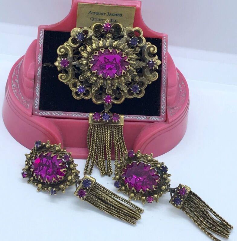Vintage HOBE Purple Pink Stone Gilt Fringe Pendant/Brooch & Clip Earring Set