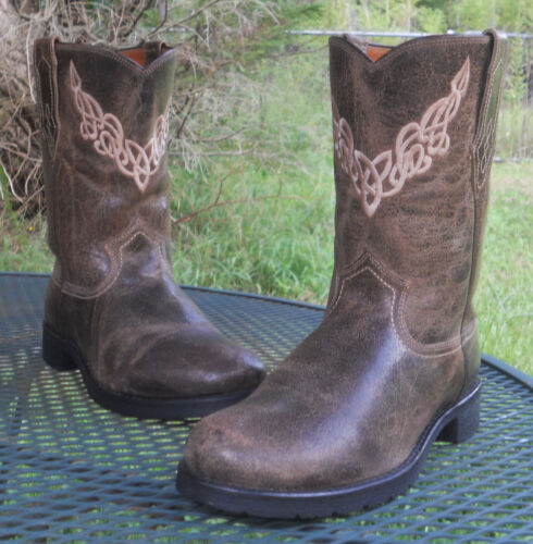 MENS, JUSTIN, BOOTS, Distressed, LEATHER, ROPER, WESTERN, BOOTS, Bent, Rail, Cowboy, 9D,