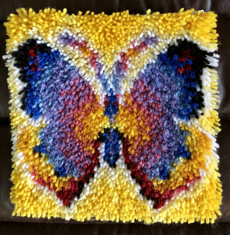 Latch Hook Colorful Butterfly Rug New