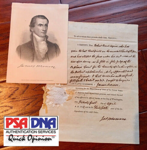 President JAMES MONROE * PSA/DNA * AUTOGRAPH SIGNED as Secretary of State