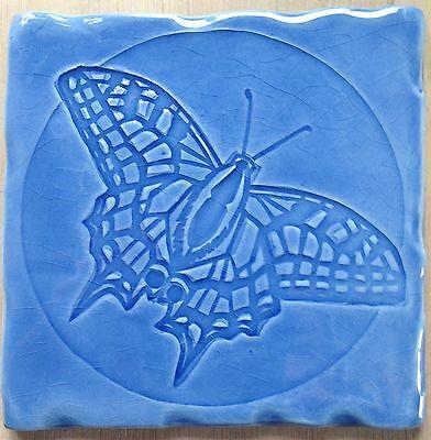Blue Tile Design - Handmade tile, Butterfly design on RC - Sky Blue, made in  U.K.