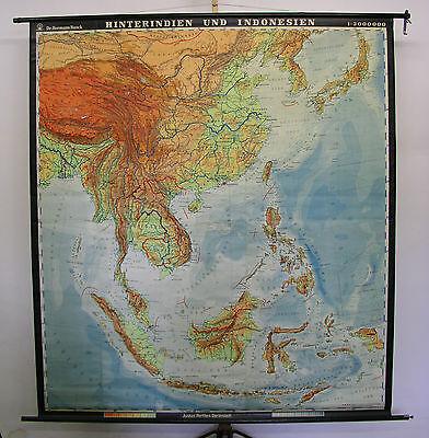 Wandkarte Japan Indonesien Vietnam Thailand Laos Korea 1963 193x214 vintage map (Karte Indonesien)