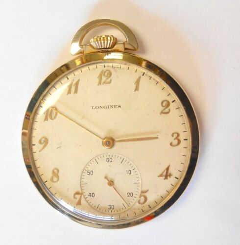 Longines 14K Yellow Gold Open Face Pocket Watch Thin Model 17J # 7106382 Vintage