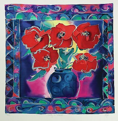 "HAZEL BURROWS ""Study in Scarlet"" flowers SIGNED LTD ED! SIZE:60cm x 57cm NEW"