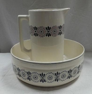 antikes Waschgeschirr Waschgarnitur Waschschüssel Waschkrug Blumendecor