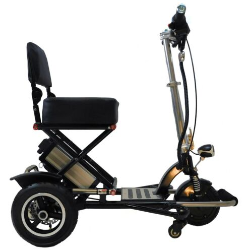 Black Triaxe Sport Folding Scooter, 350 Cap, 12 Mph, 35 Miles Per Charge, Lite