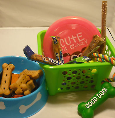 HUGE  Dog Care Gift Basket loaded with 15 TOYS & TREATS - BEST value - Green Box