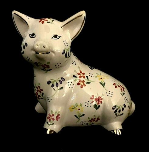 "Vintage Ceramic Handpainted Floral Pig Figurine With 10KT Trim 1985 ""Mayflower"""