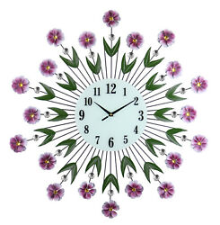 Large Round Metal Wall Clock Purple Flowers & Green Leaves w/ Gem Accents