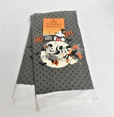 Disney Minnie & Mickey Mouse Halloween Set Of 2 Kitchen Terry Back Towels
