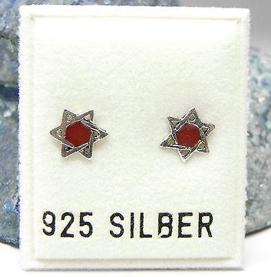 NEU 925 Silber OHRSTECKER DAVIDSTERN HEXAGRAMM rot/silber OHRRINGE  STERN