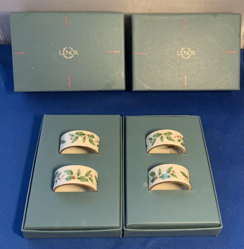 Lenox Holiday round Holly Berry Napkin Rings Set of 4