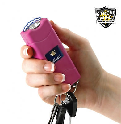 Stun Gun Streetwise SMACK 6,000,000 Rechargeable Pink Keychain LED Light & Case