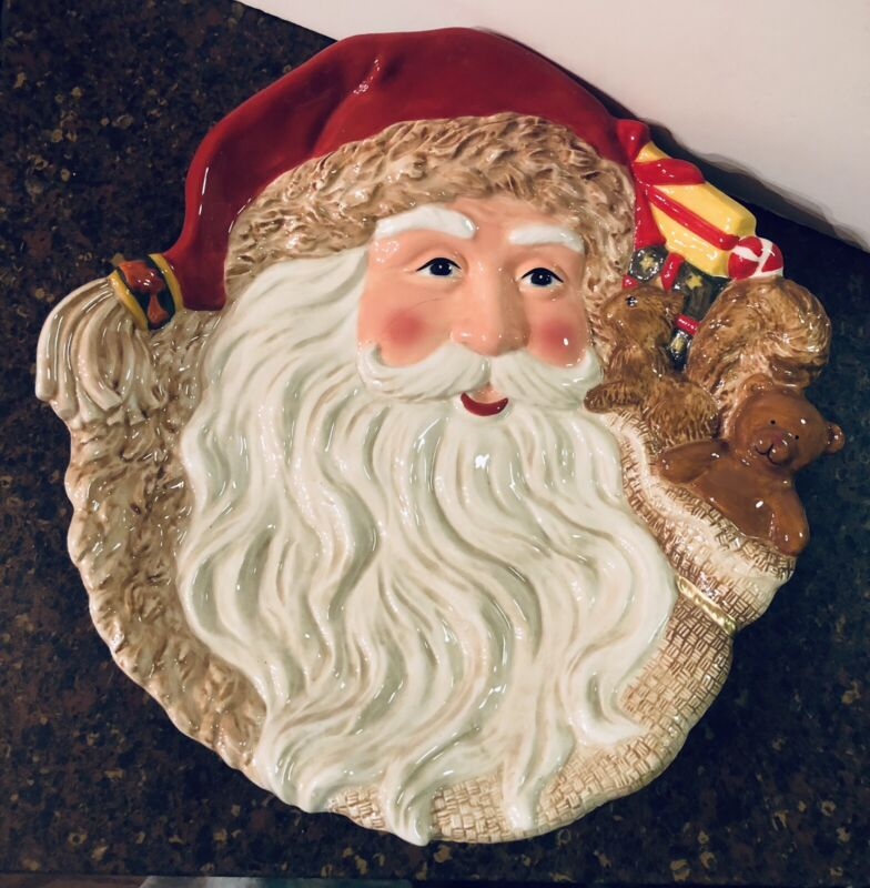 """DILLARDS TRIMMINGS Santa Face With Toys """"COOKIES PLATE"""""""
