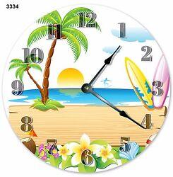 10.5 VECTOR DESIGN BEACH SUMMER CLOCK - Large 10.5 Wall Clock - 3334