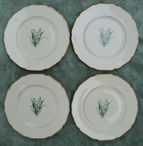 4 ROYAL YORK LILY OF THE VALLEY 7 1/2-inch SALAD PLATES HOHENBURG GERMANY