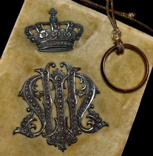 RARE Antique 1886 Roma VELVET JEWELED MARCASITE *DANCE CARD* Case ALL ORIGINAL