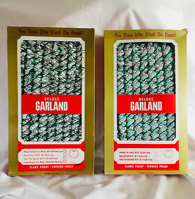 2 VINTAGE Boxes(25 FT) Revlis Christmas Garland -Green & White Twist -NEVER USED ()