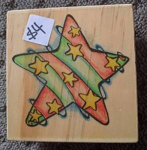 Wooden/Rubber Stamp - Star. 9cmx9cm. Great for Christmas Narangba Caboolture Area Preview