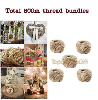 (3 Ply 500m Natural Brown Jute Thread Rustic String Hemp Rope Cord Garden )