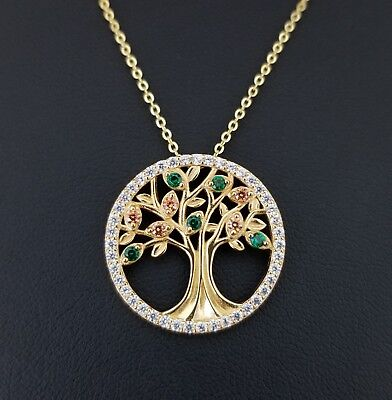 Gold 925 Sterling Silver Green Emerald & Diamond Tree Of Life Pendant Necklace ()