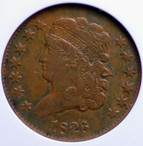1826 CLASSIC HEAD HALF CENT OLD SMALL WHITE ANACS VERY FINE 30 QUITE APPEALING