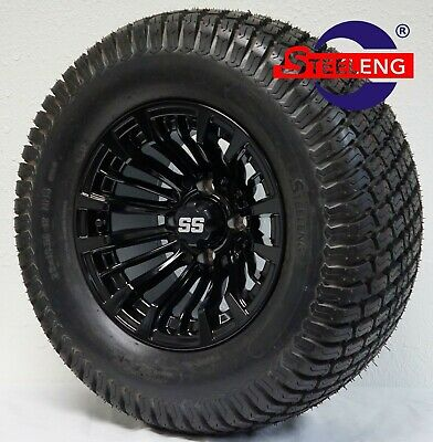 "GOLF CART 12"" BLACK MATADOR WHEELS and 23"" STREET TURF TIRES (SET OF 4)"