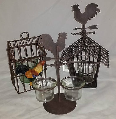 3 Metal and Glass Candle Holder Cage Rooster Designs