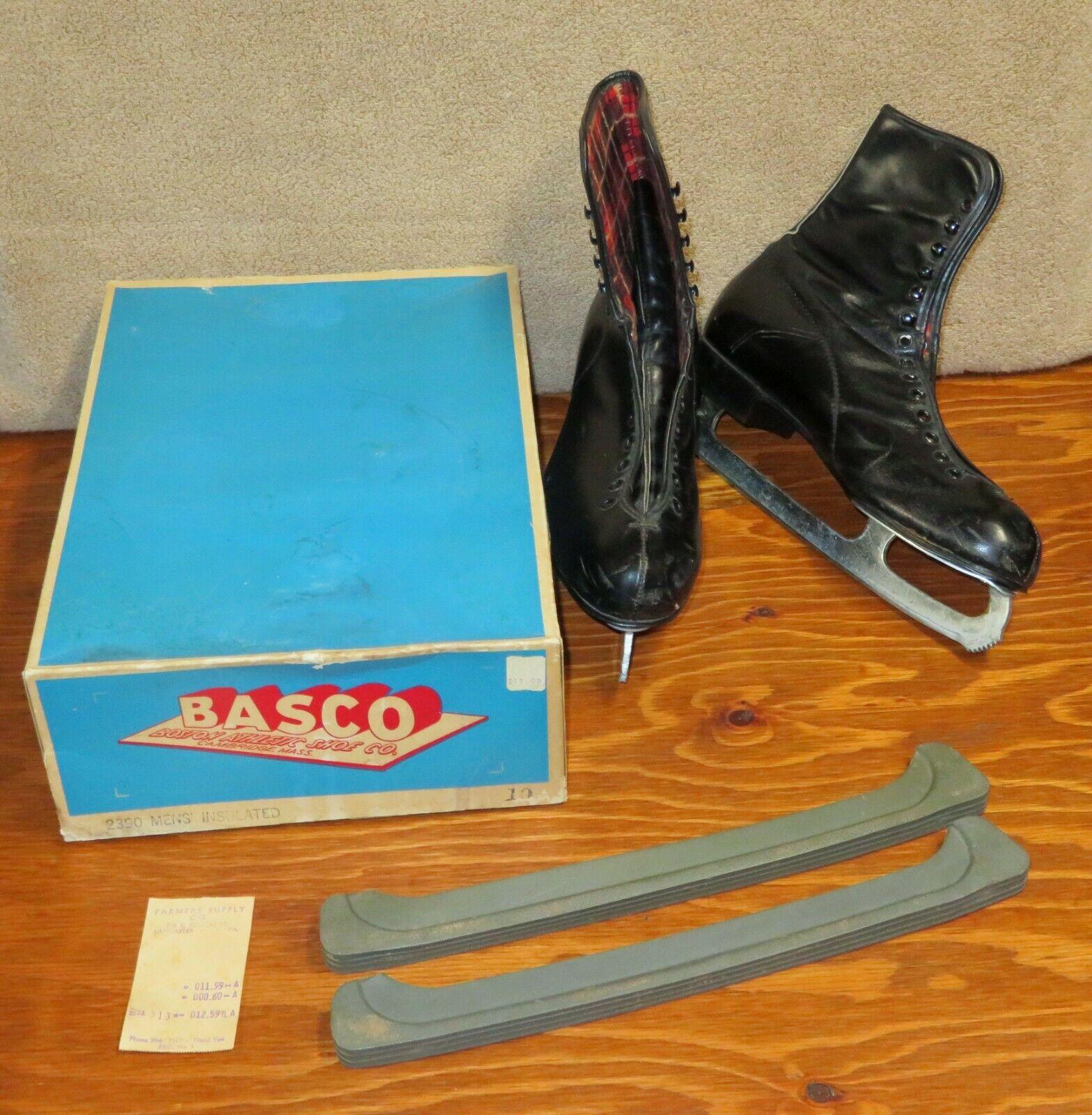 Mens Vtg BASCO ICE SKATES Insulated Black Kingswood Sheffield Steel Blades Sz 10