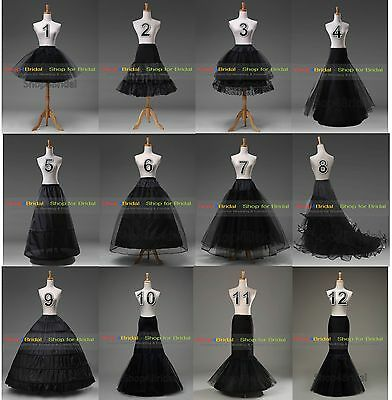White/Black Bridal Petticoat Crinoline Underskirt Hoop/Hoopless/Mermaid/Fishtail (White Crinoline Petticoat)