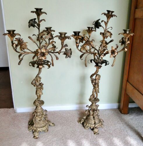 """Antique Pair BRASS CANDELABRAS 26"""" GIRLS & LILIES NeoClassical Hollywood Regency"""