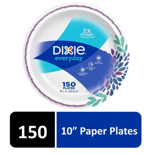 """Dixie Everyday Paper Dinner Plates Microwavable, Cut-Resistant, 10"""", 150 Count"""