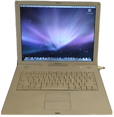 "Apple iBook 14.1"" A1055 G4 1.33 GHz - 768 MB RAM - 120 GB HDD - OS X 10.5.8 WiFi"