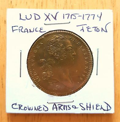 French 1715-1774 Crowned Arms and Shield Jeton