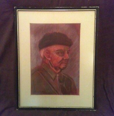 Stunning Realism Portrait of German/Russian Man pastel Painting sign Ella La Roe